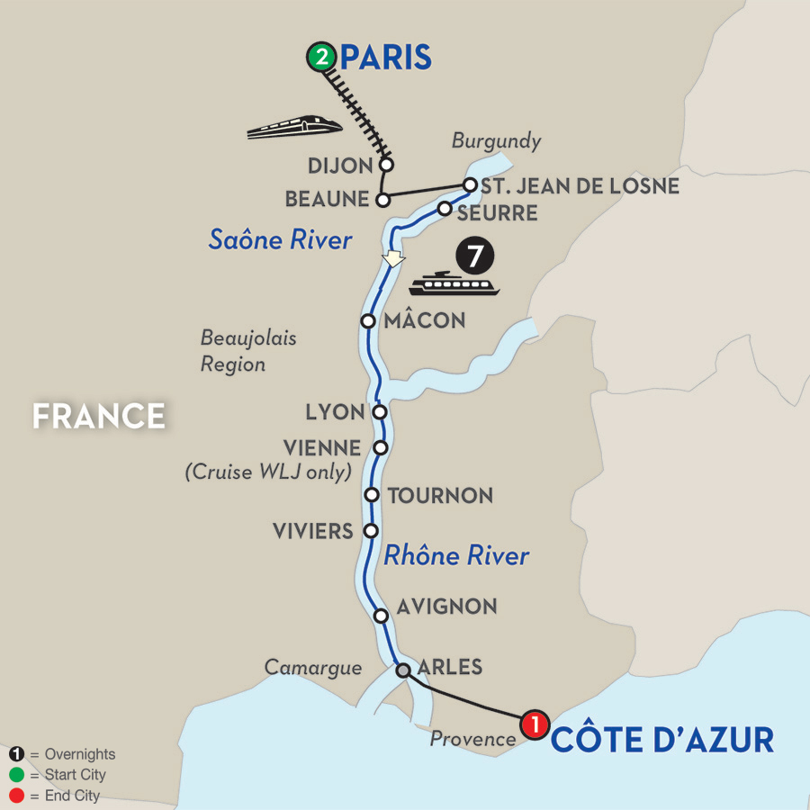 Avalon-Wine-Cruise-11day-Burgundy-Provence-itinerary-map