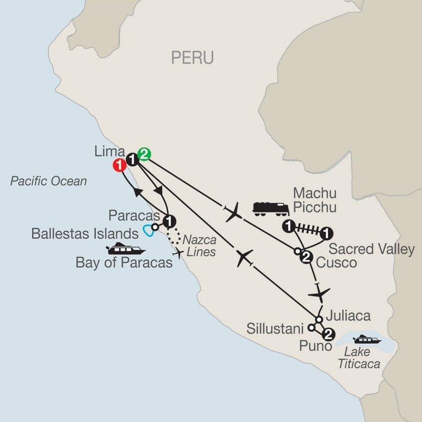 Peru-Legacy-Incas-Globus-itinerary-map