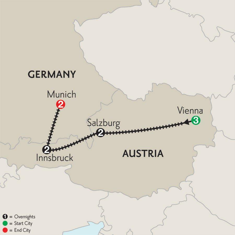 Vienna-Salzburg-Innsburck-Munich-10day-Monograms-itinerary-map